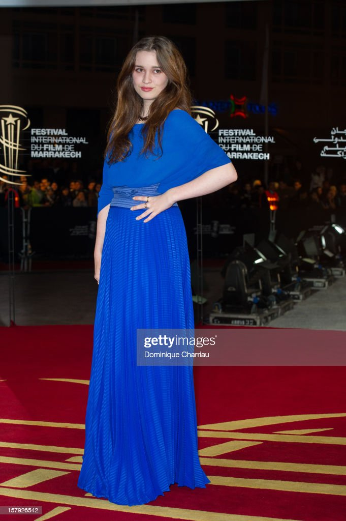 New Zealander actress Alice Englert poses as she arrives at the 'Ginger & Rosa' Premiere during the 12th International Marrakech Film Festival on December 7, 2012 in Marrakech, Morocco.