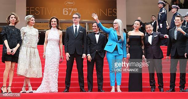 New Zealander director and President of the Feature films Jury Jane Campion poses with the members of the Jury US director Sofia Coppola Iranian...