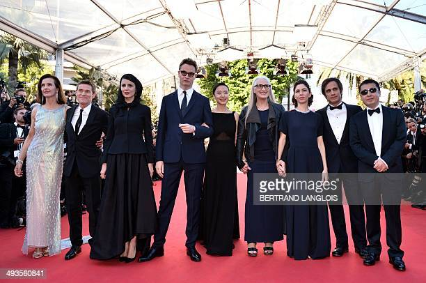 New Zealander director and President of the Feature films Jury Jane Campion poses with the members of the Jury French actress Carole Bouquet US actor...