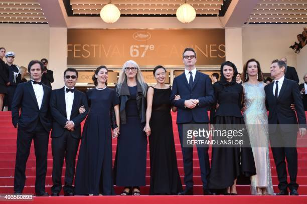New Zealander director and President of the Feature films Jury Jane Campion poses with the members of the Jury Mexican actor and director Gael Garcia...
