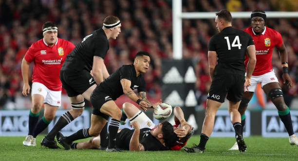 New Zealands Aaron Smith Passes The Ball During Third Test Of 2017 British And