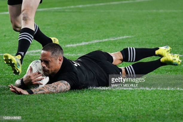 New Zealand's Aaron Smith scores a try during the Rugby Championship match between the New Zealand All Blacks and South Africa at Westpac Stadium in...