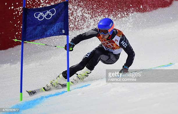 New Zealand's Adam Barwood competes during the Men's Alpine Skiing Giant Slalom Run 1 at the Rosa Khutor Alpine Center during the Sochi Winter...