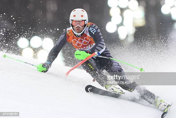 New Zealand's Adam Barwood competes during the Men's Alpine Skiing Slalom Run 1 at the Rosa Khutor Alpine Center during the Sochi Winter Olympics on...