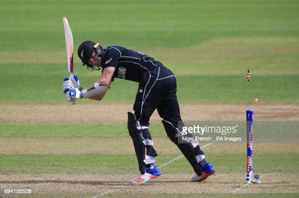 New Zealand's Adam Milne is bowled by Bangladesh's Mustafizur Rahman during the ICC Champions Trophy Group A match at Sophia Gardens Cardiff
