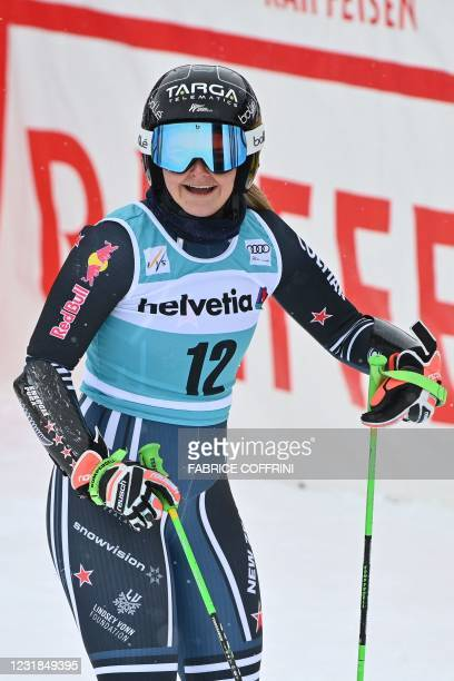 New Zealand's Alice Robinson celebrates in the finishing area after competing in the second run of the Women's Giant Slalom event during the FIS...