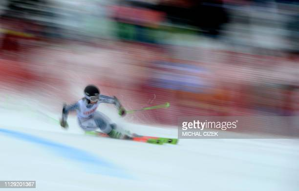 New Zealand's Alice Robinson competes during the women's giant slalom in the FIS Ski World cup in Spindleruv Mlyn Czech Republic on March 8 2019