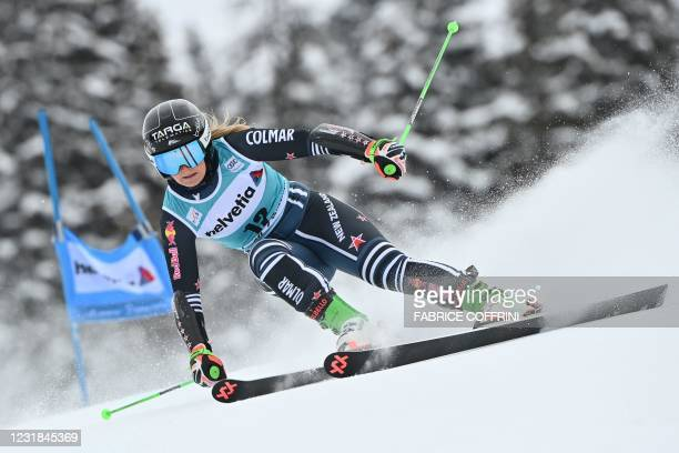 New Zealand's Alice Robinson competes in the first run of the Women's Giant Slalom event during the FIS Alpine ski World Cup in Lenzerheide, on March...