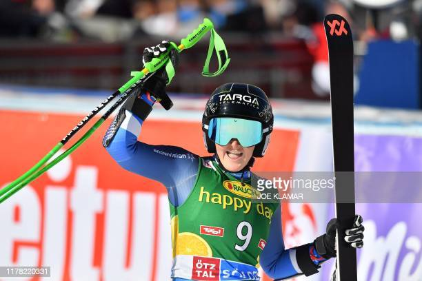TOPSHOT New Zealand's Alice Robinson reacts in the finish area of the Women's giant slalom at the FIS ski World cup on October 26 2019 in Soelden...