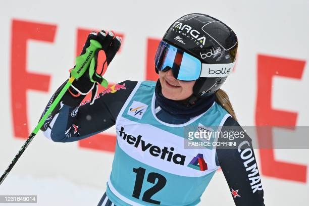 New Zealand's Alice Robinson reacts in the finishing area after competing in the second run of the Women's Giant Slalom event during the FIS Alpine...