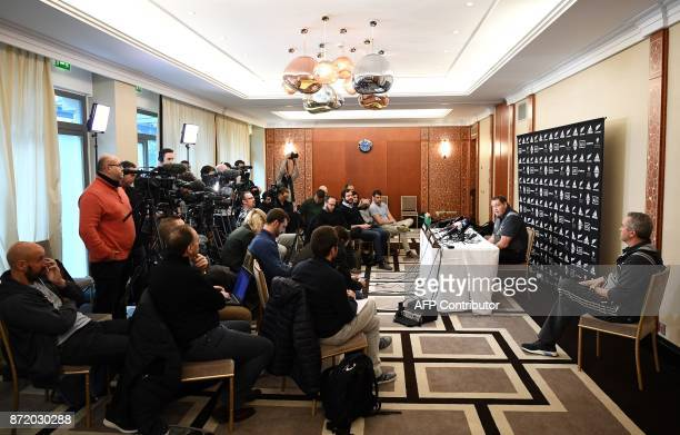 New Zealand's All Blacks head coach Steve Hansen speaks during a press conference on November 9 2017 in Paris ahead of an upcoming test match against...