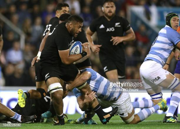 New Zealand's All Blacks lock Patrick Tuipulotu vies for the ball with Argentina's Los Pumas flanker Marcos Kremer during their Rugby Championship...