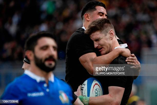 New Zealand's All Blacks outside back Jordie Barrett celebrates scoring a try during the international rugby union test match Italy vs New Zealand on...