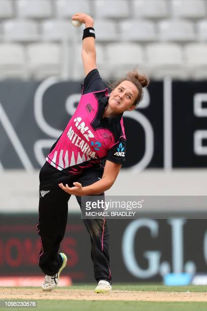 New Zealand's Amelia Kerr bowls during the second Twenty20 international women's cricket match between New Zealand and India in Auckland on February...
