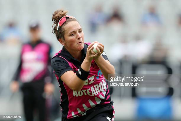 New Zealand's Amelia Kerr takes the catch to dismiss India's Arundhati Reddy during the second Twenty20 international women's cricket match between...