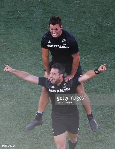 New Zealand's Andrew Knewstrubb and Kurt Baker celebrtae winning gold in the Mens Final against Fiji during Rugby Sevens on day 11 of the Gold Coast...