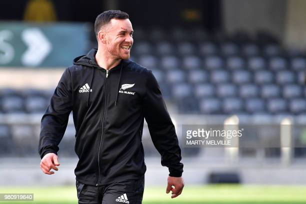 New Zealand's Anton LienertBrown takes part in the captain's run at Forsyth Barr Stadium in Dunedin on June 22 a day ahead of the All Blacks' rugby...
