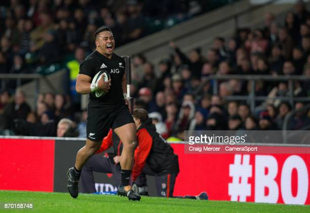 New Zealands Asafo Aumua in action during the Killik Cup match between Barbarians and New Zealand at Twickenham Stadium on November 4 2017 in London...