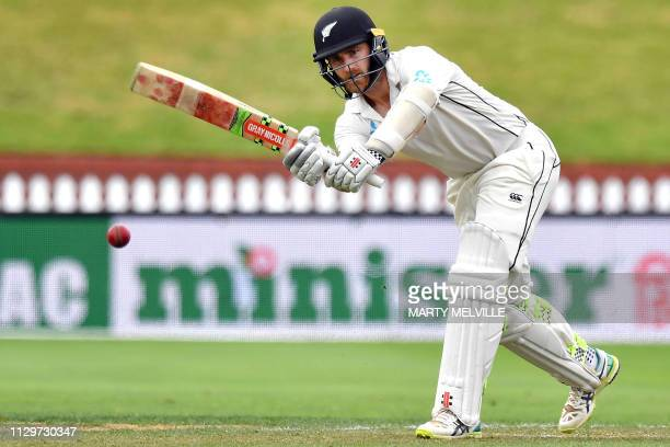 New Zealand's batsman Kane Williamson plays a shot during day four of the second cricket Test match between New Zealand and Bangladesh at the Basin...