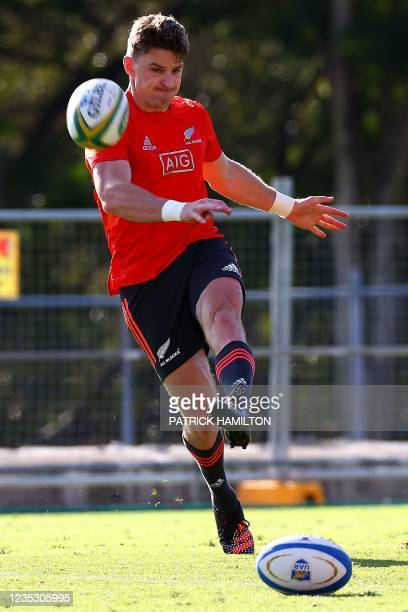 New Zealand's Beauden Barrett kicks the ball during the captain's run in Brisbane on September 17 ahead of Rugby Championship round four clash with...