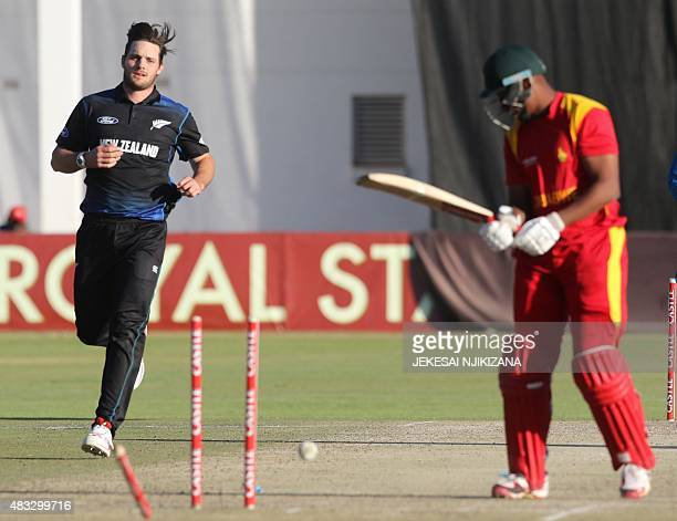 New Zealand's bowler Mitchell McGlenaghan runs during the third and final game in a series of three oneday international cricket matches between...
