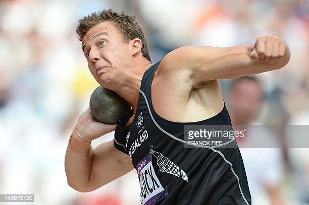 New Zealand's Brent Newdick competes in the men's decathlon's shot put qualifications at the athletics event of the London 2012 Olympic Games on...
