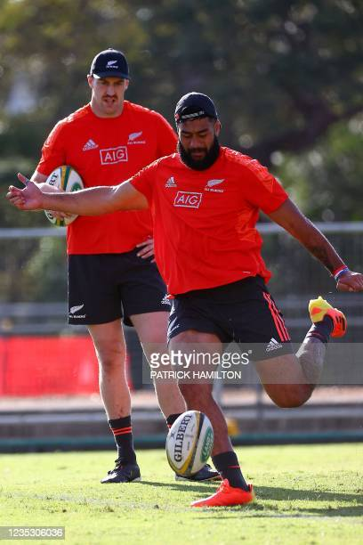 New Zealand's Brodie Retallick and Patrick Tuipulotu take part in the captain's run in Brisbane on September 17 ahead of Rugby Championship round...