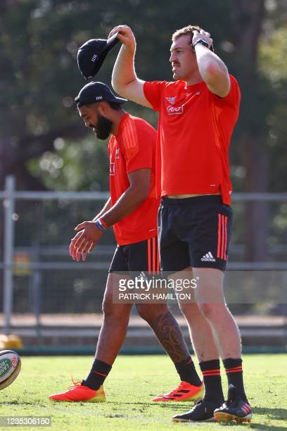 New Zealand's Brodie Retallick gestures during the captain's run in Brisbane on September 17 ahead of Rugby Championship round four clash with...
