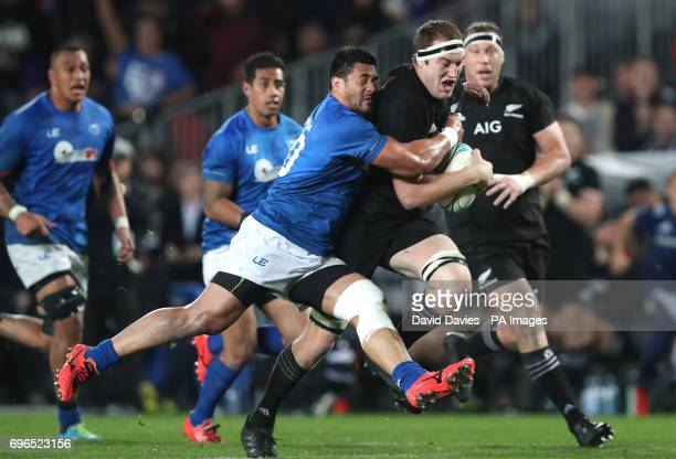 New Zealand's Brodie Retallick tackled by Samoa's Alafoti Faosiliva during the June International Test match at Eden's Park Auckland