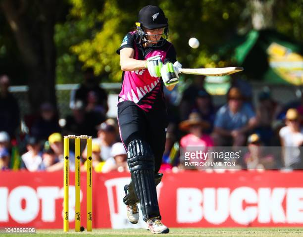 New Zealand's captain Amy Satterthwaite hits a shot during the women's T20 cricket match between Australia and New Zealand at Allan Border Field in...