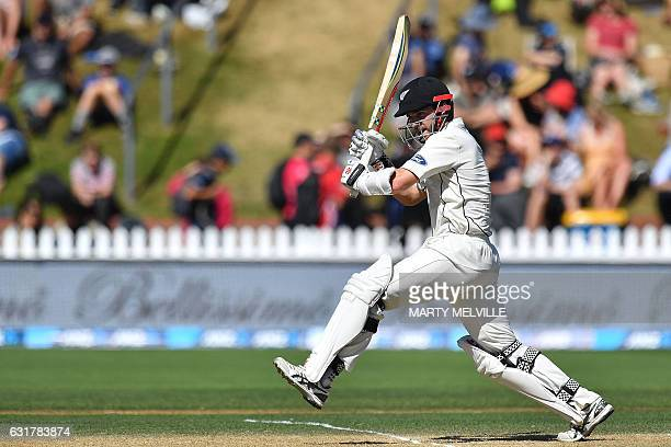 New Zealand's captain Kane Williamson bats during day five of the first international Test cricket match between New Zealand and Bangladesh at the...