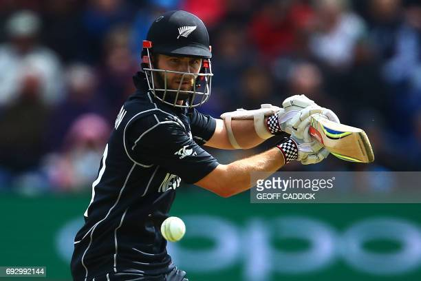New Zealand's captain Kane Williamson plays a shot during the ICC Champions Trophy match between England and New Zealand at Sophia Gardens cricket...