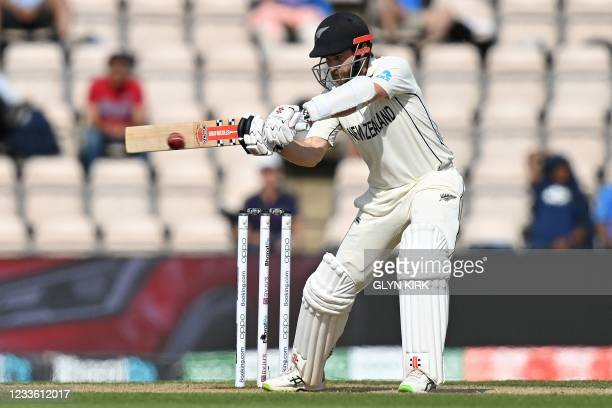 New Zealand's captain Kane Williamson plays a shot on the final day of the ICC World Test Championship Final between New Zealand and India at the...