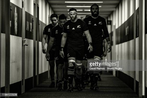 New Zealand's captain Kieran Read leads his the team through the tunnel after half-time during the Rugby World Cup 2019 Semi-Final match between...