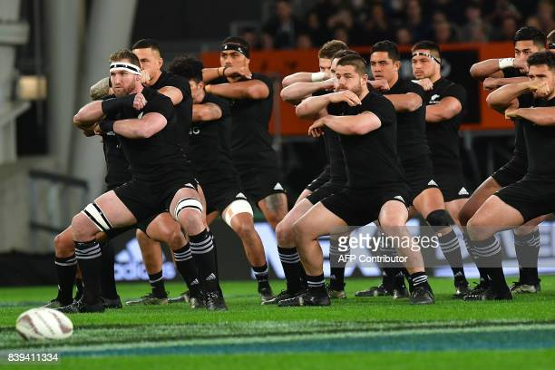 TOPSHOT New Zealand's captain Kieran Read leads the Haka during the second Bledisloe Cup match between New Zealand and Australia under their Rugby...