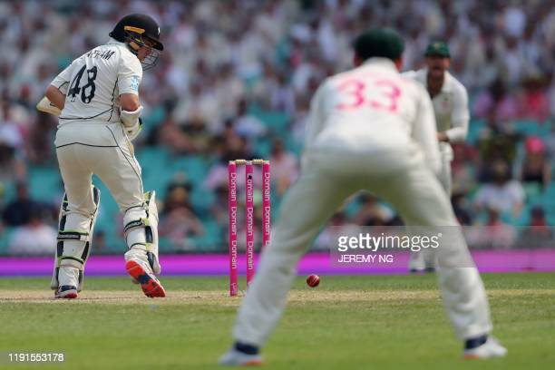 New Zealands captain Tom Latham bats during the second day of the third cricket Test match between Australia and New Zealand at the Sydney Cricket...