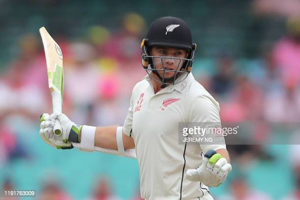 New Zealands captain Tom Latham bats during the third day of the third cricket Test match between Australia and New Zealand at the Sydney Cricket...