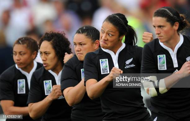 New Zealand's Carla Hohepa gestures while doing the haka before the game against England during the Women's Rugby World Cup 2010 Final at Twickenham...