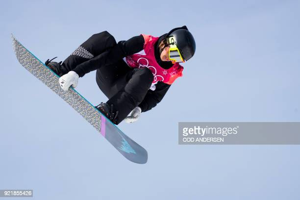 New Zealand's Carlos Garcia Knight competes during the qualification of the men's snowboard big air event at the Alpensia Ski Jumping Centre during...