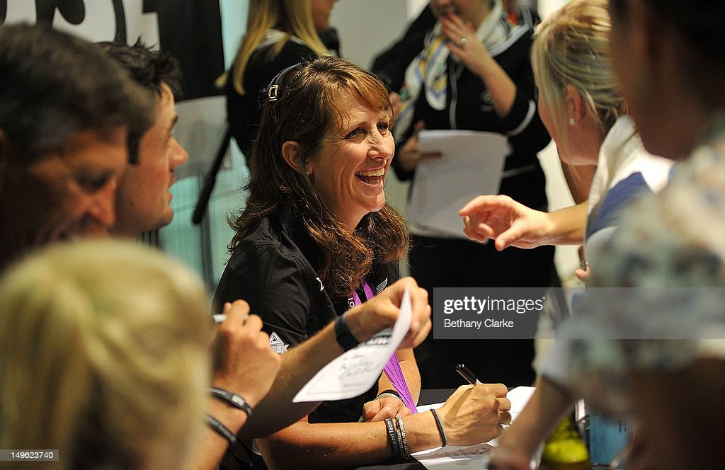 New Zealand's Caroline Powell signs autographs during a Visit Kiwi House on August 1, 2012 in London, England. New Zealand won their first medal at the London Olympics after they picked up bronze in the team's competition of the three-day eventing.