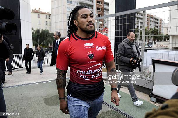 New Zealand's centre and Rugby World Cup winner Ma'a Nonu arrives on November 23 2015 at the Mayol Stadium in Toulon Southern France during his...