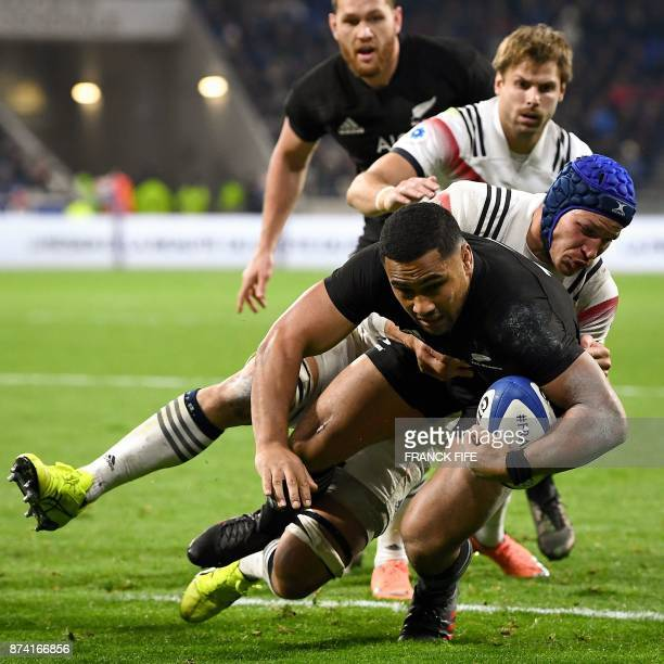 New Zealand's centre Ngani Laumape vies with France's flanker Wenceslas Lauret during the international rugby union test match between France and the...