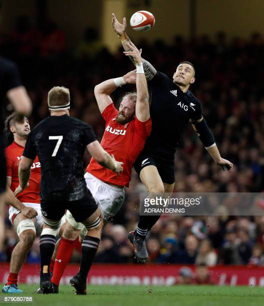 New Zealand's centre Sonny Bill Williams claims the ball during the autumn international rugby union test match between Wales and New Zealand at the...