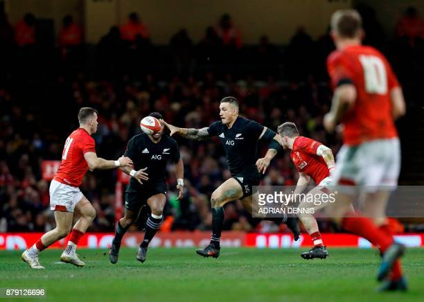 New Zealand's centre Sonny Bill Williams releases the ball during the Autumn international rugby union Test match between Wales and New Zealand at...