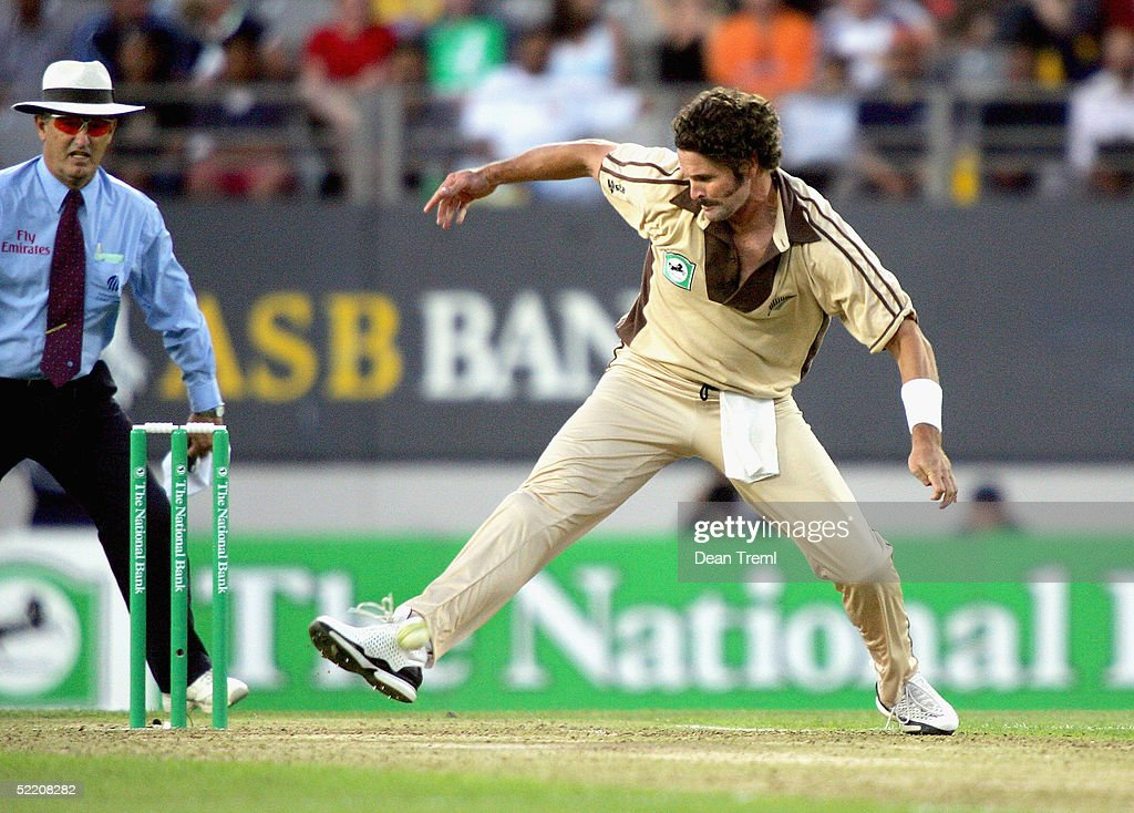 New Zealand's Chris Cairns fields a ball with his foot during the International Twenty20 game played between the New Zealand Black Caps and Australia at Eden Park on February 17, 2005 in Auckland, New Zealand.