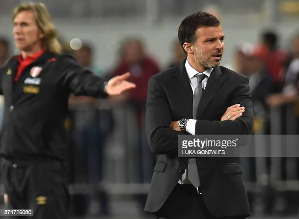 New Zealand's coach Anthony Hudson gestures during the 2018 World Cup qualifying playoff second leg football match against Peru in Lima Peru on...