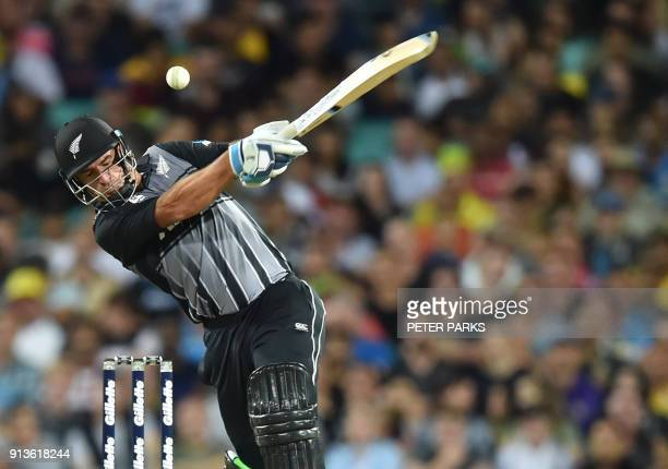 New Zealand's Colin de Grandhomme avoids a bouncer during their Twenty20 cricket match against Australia at the Sydney Cricket Ground in Sydney on...