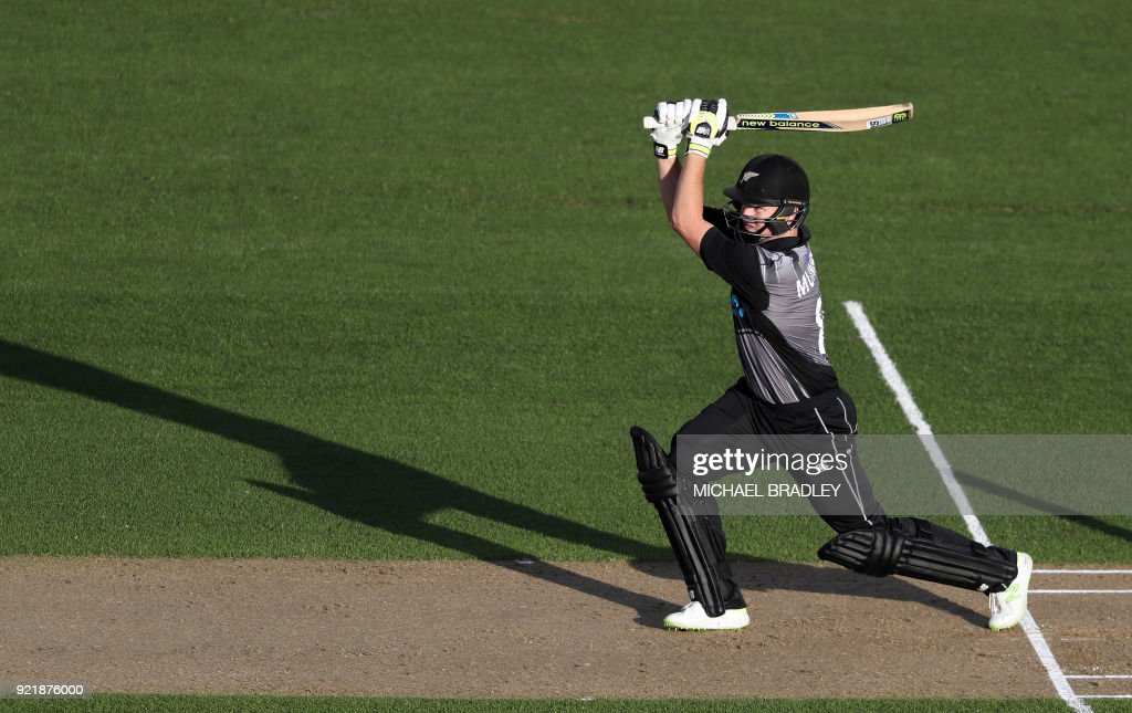 New Zealand's Colin Munro bats during the final Twenty20 Tri Series international cricket match between New Zealand and Australia at Eden Park in Auckland on February 21, 2018. /