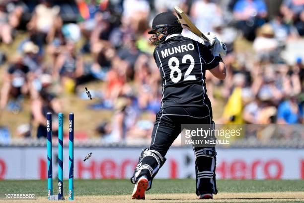 New Zealand's Colin Munro is bowled during the third ODI cricket match between New Zealand and Sri Lanka at Saxton Field in Nelson on January 8, 2019.
