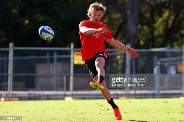 New Zealand's Damian McKenzie kicks the ball during the captain's run in Brisbane on September 17 ahead of Rugby Championship round four clash with...